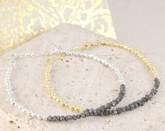 ON SALE NOW Rough Diamond Bracelet, Black Diamond Bracelet, Silver Bracelet, Gold Bracelet, Fine Diamond, Bead Bracelet, Diamond Jewelry, Fi