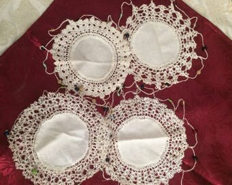 Vintage Linen and Crochet Glass Covers - set of 4