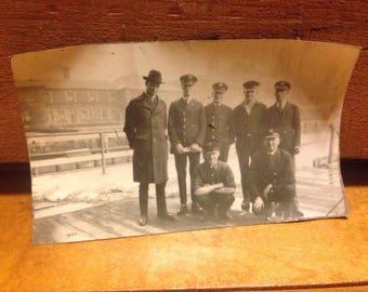 Vintage Picture Policemen on Dock Black and White Police Photo