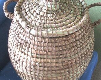 Rustic Farmhouse Coiled Basket,Cabin Decor,Handwoven Leather, Wool basket, Cesto, Korb, Cestino