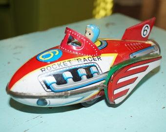 Rocket Racer-Vintage Tin Litho Toy-1960s-Friction Toy