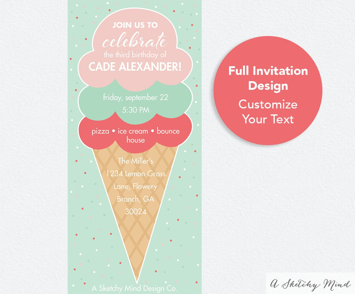 Text message invitations ice cream party birthday invitation text message invitations ice cream party birthday invitation digital invite email invitation filmwisefo Images