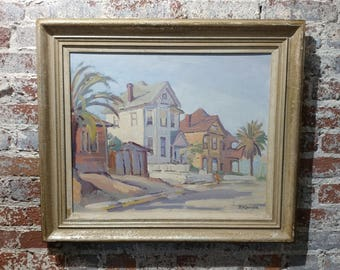 Fritz Kocher - Los Angeles 1959 -Sunset Blvd and Bunkerhill -Original Oil Painting