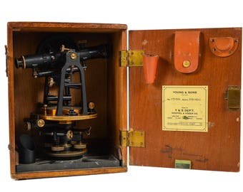 Young & Sons 1884 Antique Brass Surveyor's Transit -w/Original wooden case