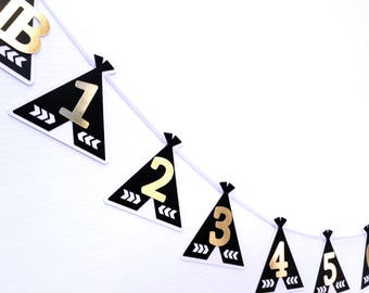 Teepee 12 month photo banner. Tent Garland Black & White. First birthday party, bunting, photo display. 1st year milestones, photo prop.