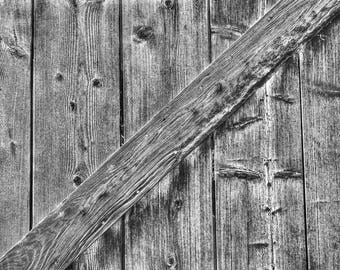 Abstract Photography - Black and White Photo of Wood Grain Pattern on an Old Barn Door.  Abstract Art Photograph Rustic Decor Canvas Print