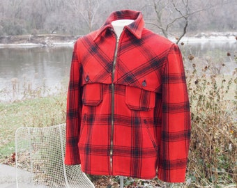 Red and black wool hunting jackets