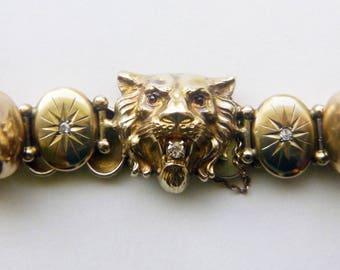 Art nouveau 14k yellow gold diamonds starburst lion head figural bracelet circa 1890s