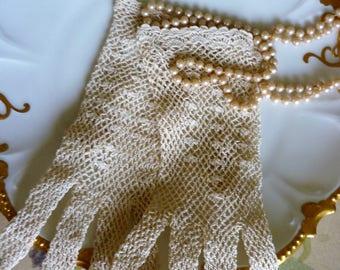 Vintage Fishnet Crochet Steampunk Ivory Gloves, New Never Used