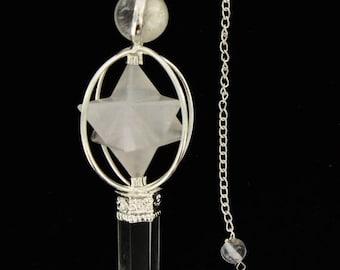 ON SALE Crystal Quartz Pendulum Big Mercaba and quartz Point