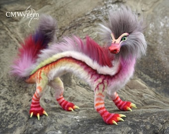 Eastern Coral Dragon - an OOAK posable fantasy creature