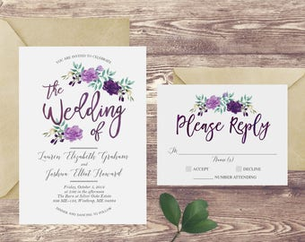 The Floral Watercolor Wedding Invitation and RSVP Set, Purple Wedding Invitation, Watercolor Wedding Invite, Custom Purple Wedding Invite