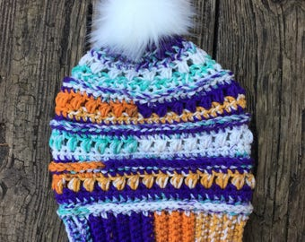 Beanie in Clemson Sunset with Faux Fur Pom // Juneberry Beanie // Ready to Ship
