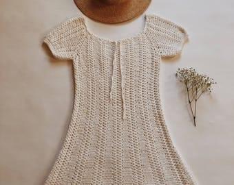 Vintage 1970's white crochet dress