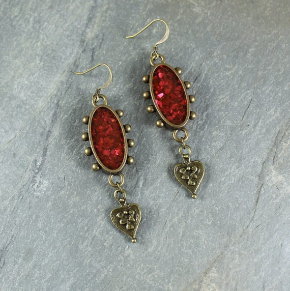 Bohemian Chic ~ Red Sparkle earrings