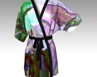 """Elegant Designer-Style KIMONO ROBE - TOP ~ """"Luminescence (#1)"""" / Exclusive Design / Classy, Stylish, Unique Apparel"""
