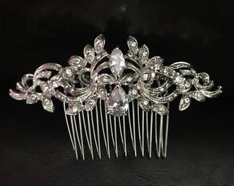 Silver Art Deco Bridal Hair Comb gatsby bridal Hair Comb Wedding Vintage Hair Accessory