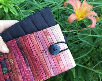 Quilted phone case. Large sunglass case. Smartphone sleeve. 3.5x6.5 in. Gift for quilter. Iphone 6s case. Android pouch. Pieced phone case.