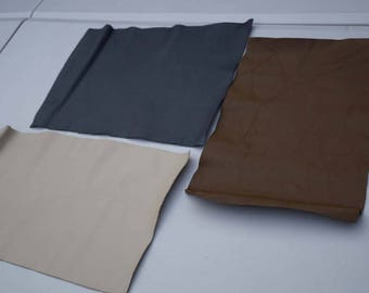 Assorted  cowhide leather 3 craft panels/pieces 34.5 x 22 cm