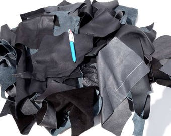 Black upholstery cowhide leather scrap SMALL 0.5 KG