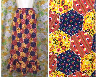 70s Vintage Patchwork Maxi Wrap Skirt Small XS