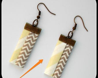 GRAPHIC COLLECTION: chevrons simple rectangular zigzag earrings taupe and yellow, with graphic patterns
