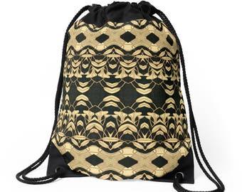 Drawstring Shoulder Bag - Backpack w/Unique Solar Etched Design ~ 'Lilies #2' / Sophisticated, Classy, Unique — Solar Art ~ Solar Pyrography