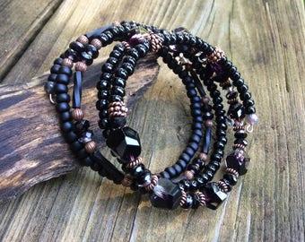 Black Beaded Wrap Bracelet, Black Jewels, Black Beauty, Black Stack Bracelet, 5 Wraps, Black Cuff Bracelet