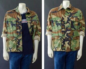 Camouflage Army Jacket, 90s Grunge Camo Coat, Military Camo Field Jacket, Oversized Camo Jacket, Size Medium Unisex Army Distressed Jacket
