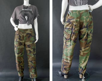 Camouflage Army Pants, Military Cargo Trouser Pants, BDU Army Fatigue Pants, Woodland Camouflage Pants, Unisex Pants, Size Medium Short
