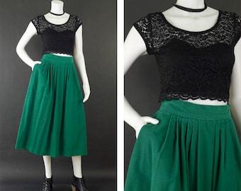 Vintage Green Corduroy Skirt, High Waisted Midi Skirt, Long Pleated Skirt, 80s A Line Pockets Skirt, St Patty's Day Skirt, Women's Size 14