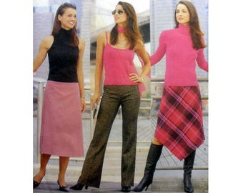 A-Line Midi Skirt and Straight Leg Pants, Women's Sewing Pattern by French Connection Misses / Petite Size 8, 10, 12 Uncut Butterick 6833
