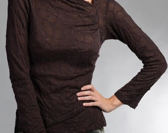 Brown, soft, thin sweater knit top quality