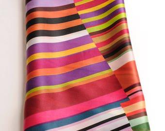 As a shawl striped silk long scarf multicolor