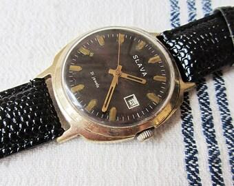 Russian watch Slava-21jewels Gold Plated Vintage Men's Watch Retro Watc Mechanical Wrist Watch Working Old Watch USSR-70s Russian Wathes