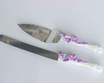Purple wedding cake server set Wedding Cake serving set Wedding Cake cutting set Wedding serving set Cake and knife set Personalized server