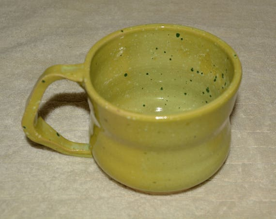 Mug, Coffee Mug, Cocoa Mug, Large Handle, 20 ounce, Lime, Sage, Speckled, Stoneware, Funky Handle, Kitchen,