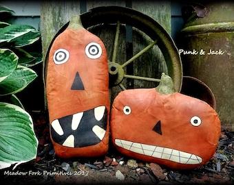 Extreme Primitive Folk Art-Punk & Jack Fall Pumpkin Shelf Sitters-Halloween-Fall, Autumn, October, Home Decor
