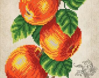 Vintage Fruits Bead embroidery kit, seed beads stitching set, beaded painting, wedding gift idea