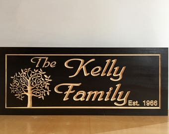 Wooden Carved Black Signs Personalized Gifts Last Name Family Tree Address Sign Anniversary Wedding Gift Farm Signs Benchmark Signs