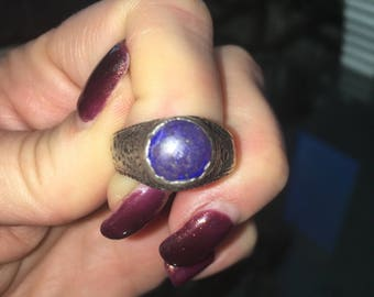 Old Lapis Ring, 925 Sterling Silver Size 9