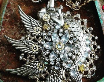 Steampunk Angel Wing Mermaid Necklace