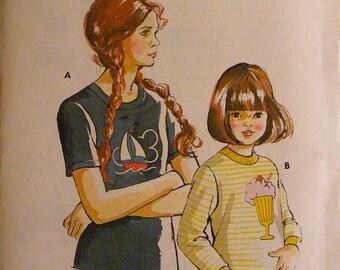 ON SALE 35% OFF Vintage Girls' Long / Short Sleeve T-Shirt Uncut Kwik Sew Sewing Pattern 702 Size 8 10 12 14