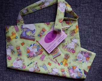 Fabric cotton tote project bag crafty cats sewing knitting