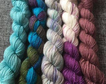 Odds and Socks mini skein set 4ply sparkle sock yarn hand dyed skein