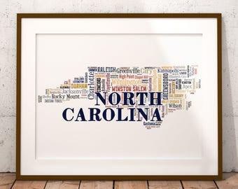 North Carolina Map Art, North Carolina Art Print, North Carolina City Map, North Carolina Typography Art, North Carolina Poster Print