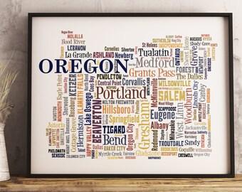 Oregon Map Art, Oregon Art Print, Oregon City Map, Oregon Typography Art, Oregon Poster Print, Oregon Word Cloud