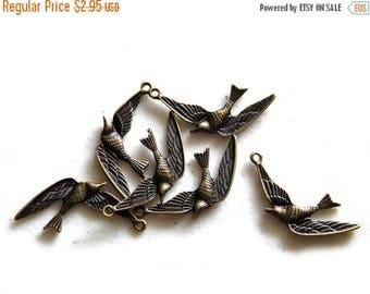 HALF PRICE 6 Bronze Swallow Charms