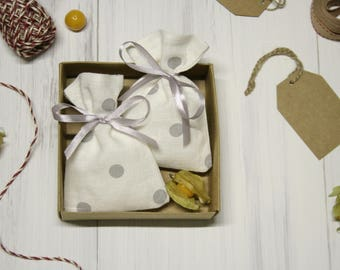 Linen favor bags set of 15, linen  bags, small gift bags, polka dot bags, gray ribbon