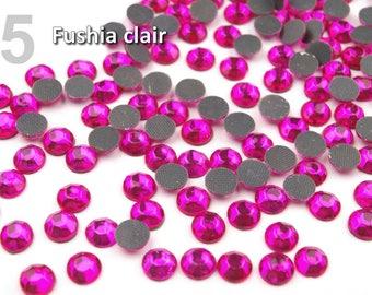 10 g rhinestone hotfix iron 6 mm faceted Fuchsia pink